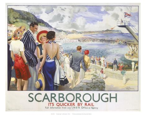 Scarborough, It's Quicker by Rail Art Print