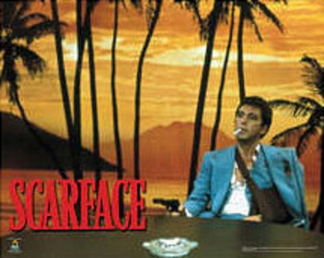 scarface palm trees behind desk movie poster print posters at