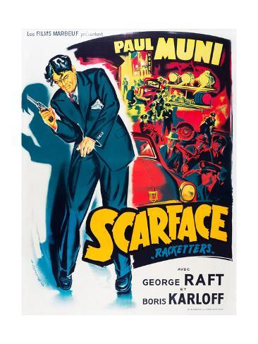 SCARFACE, Paul Muni on French poster art, 1932. Art Print