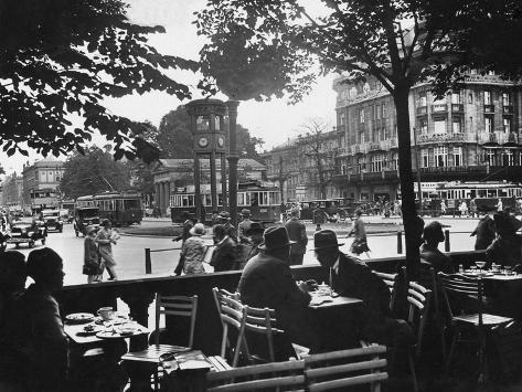 Street Cafe and Potsdamer Platz in Berlin, 1920-1929 Photographic Print