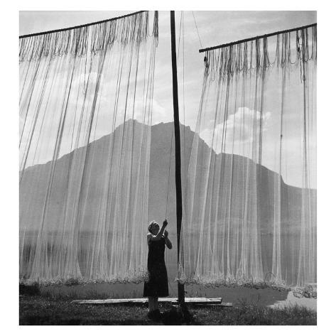 Woman While Unclamping of Fishing Nets, 1938 Photographic Print