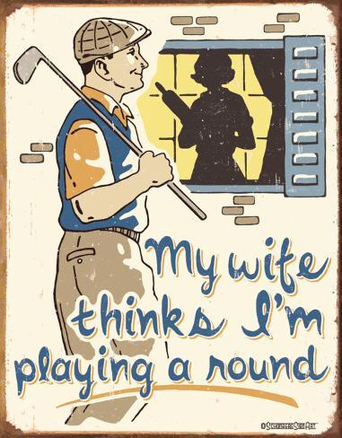 Schonberg - Playing a Round Tin Sign