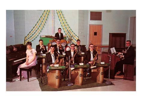 School Dance Band, Retro Art Print