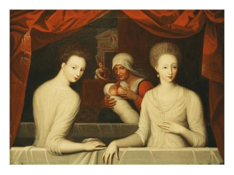 Gabrielle d'Estrees and Her Sister, the Duchess of Villars Stretched Canvas Print