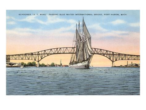 Schooner, Bridge, Port Huron, Michigan Art Print