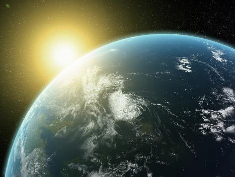 Sunrise over Earth, Artwork Photographic Print