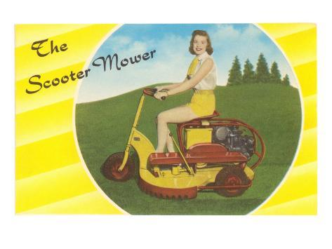 Scooter Mower Demonstrated by Woman in Shorts Stretched Canvas Print