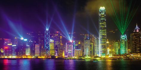Victoria Harbour by Night Art Print