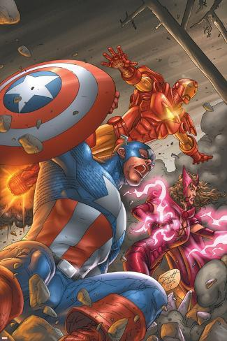 Avengers V3 No.78 Cover: Captain America, Iron Man, Scarlet Witch and Avengers Poster