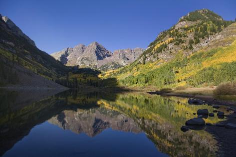 The Scenic Maroon Lake at Dawn in the Maroon Bells-Snowmass Wilderness Photographic Print