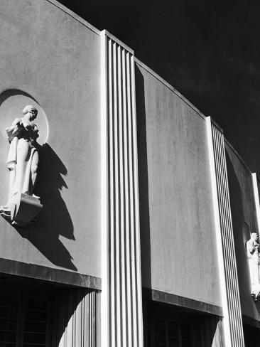 Sculptures of Woman Gracing Exterior Wall a Newly-Constructed Building at the NY World's Fair Stretched Canvas Print