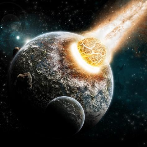 Universe and Planet Exploration - Earth Apocalypse Explosion Art Print