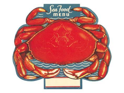 Seafood Menu, Crab Art Print