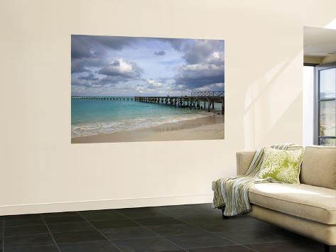 Jetty on Cancun Beach, with Grey Clouds Overhead Seinämaalaus