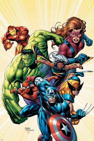 Marvel Adventures Avengers No.8 Cover: Captain America Poster
