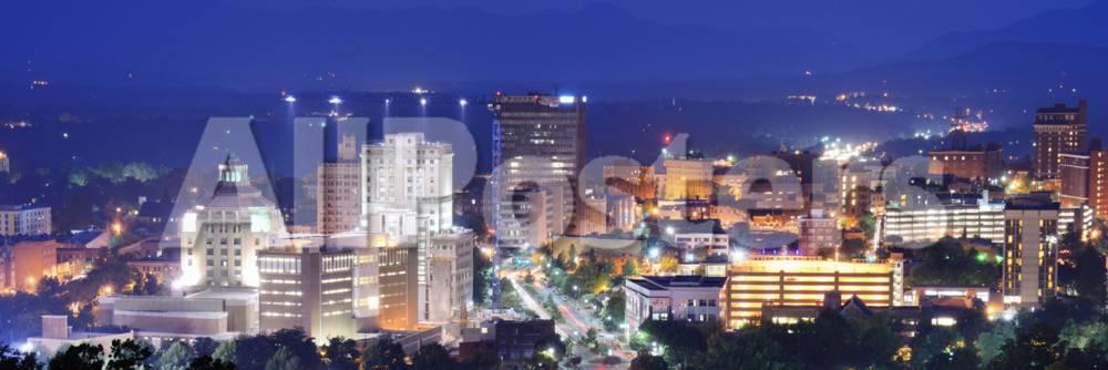 Asheville North Carolina Skyline Nestled In The Blue Ridge Mountains