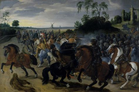 Cavalry in Combat at the Foot of a Hill Impressão giclée