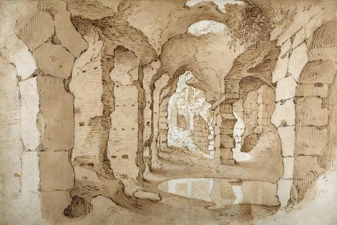 Inside the Ruins of the Colosseum (Pen and Brown Ink with Brown Wash on White Paper) Impressão giclée