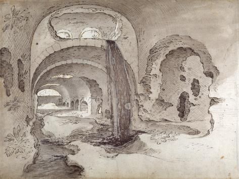 Tivoli, Cryptoporticus under the Temple of Hercules Victor Impressão giclée