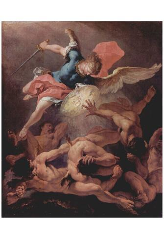 Sebastiano Ricci (Overthrow of the rebellious angels) Art Poster Print Póster