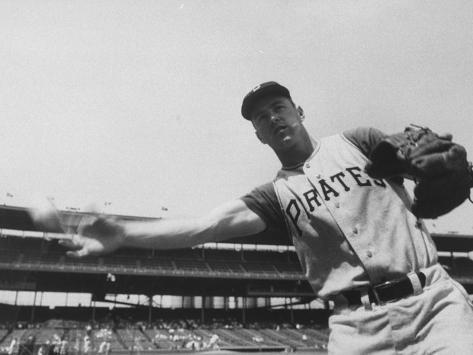 Second Baseman for the Pirates, Bill Mazeroski Throwing a Ball Premium Photographic Print