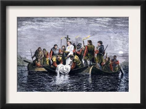 Secret Burial of Hernando de Soto at Night in the Mississippi River 1542 Framed Art Print