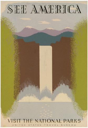 See America Visit National Parks Tourism Travel Vintage Ad Poster Print Poster