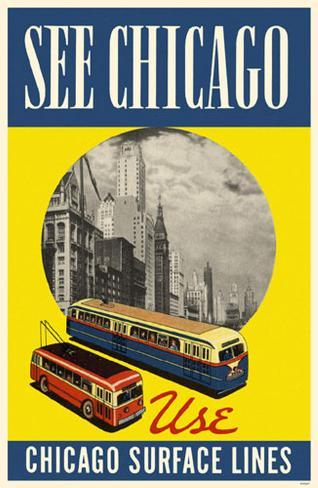 See Chicago Use Chicago Surface Lines Blue Yellow Masterprint