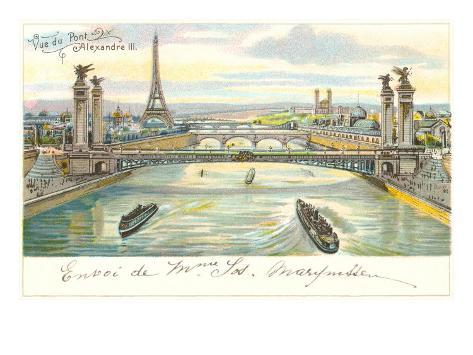 Seine Bridges, Eiffel Tower, Paris, France Art Print