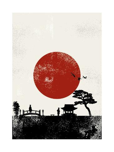 Japan Scenery Poster, Vector Art Print
