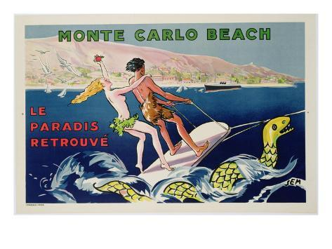 Poster Advertising Monte Carlo Beach, Printed by Draeger, Paris, C.1932 (Colour Litho) Giclee Print