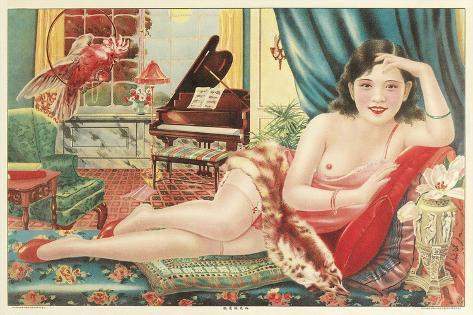 Semi-Nude Asian Woman with Gallah Stampa artistica