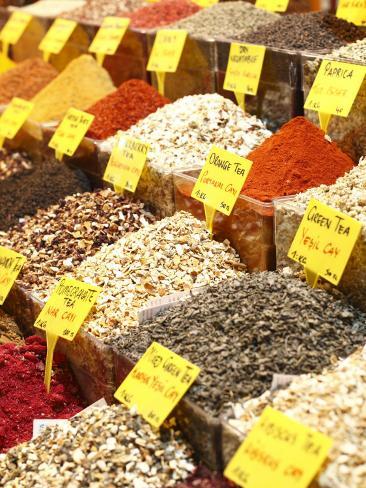 Variety of Teas at Market in Spice Bazaar, or Egyptian Bazaar Photographic Print