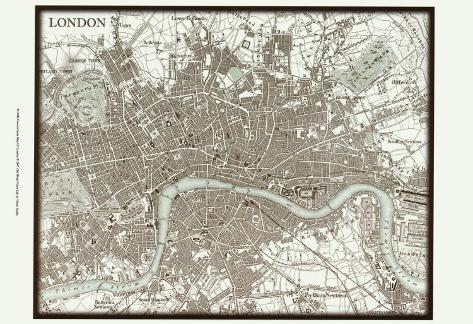 Sepia Map of London Art Print