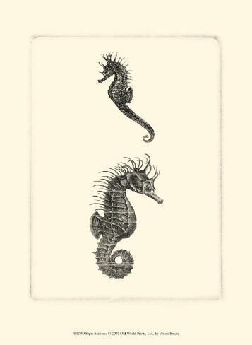 Sepia Seahorse Art Print