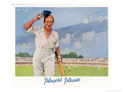 Cricket Player Raises His Cap as He Retires from the Pitch Giclee Print