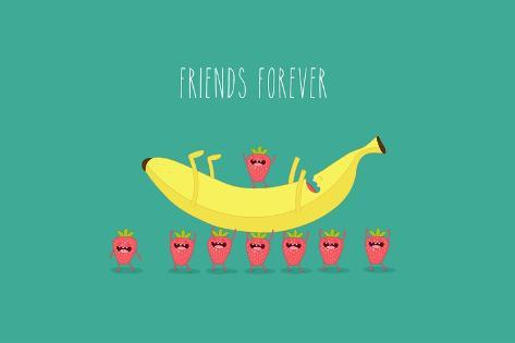 funny strawberry with banana comic character use for card poster