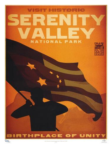 Serenity Movie Blue Sun Visit Historic Serenity Valley National Park Travel Poster Print Mini Poster