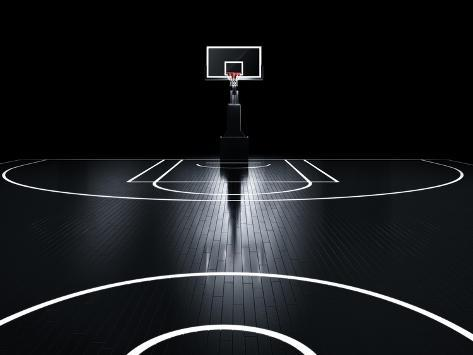 Basketball Court. Photorealistic 3D Illustration of a Sport Arena Background Art Print