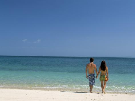 Couple Walking on Sandy Beach, Chapera Island (Contadora), Las Perlas Archipelago, Panama Photographic Print
