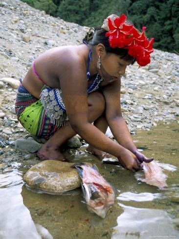 Embera Indian Cleaning Fish, Soberania Forest National Park, Panama, Central America Photographic Print