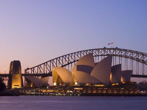 Opera House and Harbour Bridge, Sydney, New South Wales, Australia Photographic Print