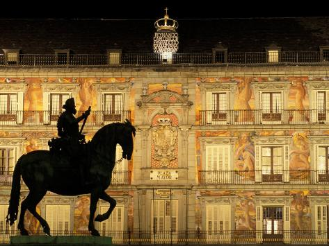 Plaza Mayor by Night, Madrid, Spain Photographic Print