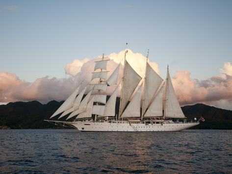 Star Clipper Sailing Cruise Ship, Dominica, West Indies, Caribbean, Central America Photographic Print