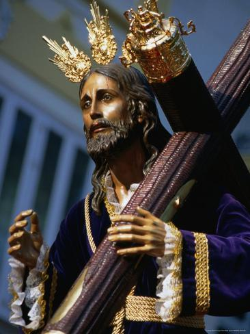 Statue During Holy Week Festival, Malaga, Spain Photographic Print
