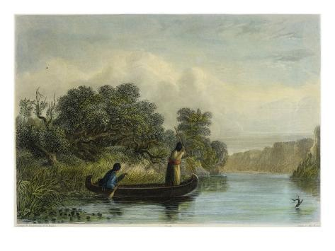 Spearing Fish from a Canoe Giclee Print