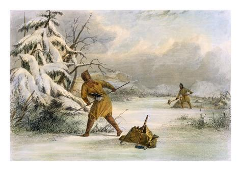 Spearing Muskrats in Winter Giclee Print