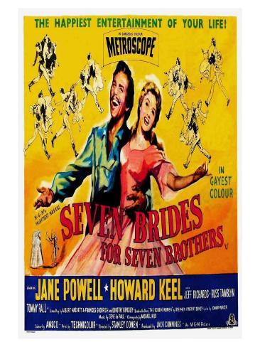 Seven Brides for Seven Brothers, UK Movie Poster, 1954 Art Print