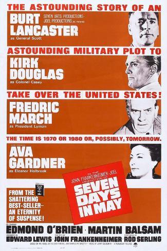 Seven Days in May, from Top: Burt Lancaster, Kirk Douglas, Fredric March, Ava Gardner, 1964 Art Print