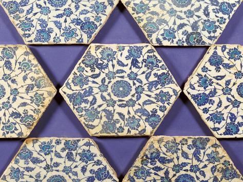Seven Iznik Blue and White Hexagonal Pottery Tiles, circa 1540 Giclee Print
